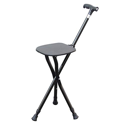 (Chunlan Aluminum Alloy Walking Stick Foldable with Seat-5 Levels Adjustable Height-Outdoor Alpenstock-with LED Illumination (Not Including Battery))