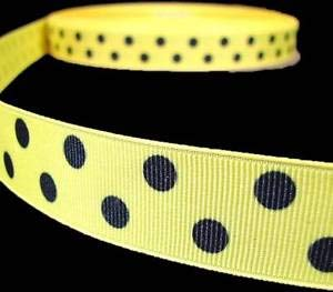 - 5 Yd Yellow Black Bumble Bee Polka Dot Polkadot Grosgrain Ribbon 7/8