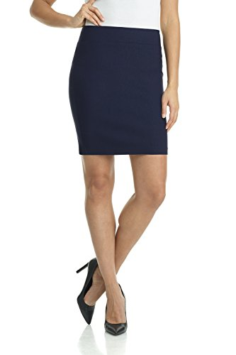 (Rekucci Women's Ease Into Comfort Above The Knee Stretch Pencil Skirt 19 inch (X-Large,Navy) )