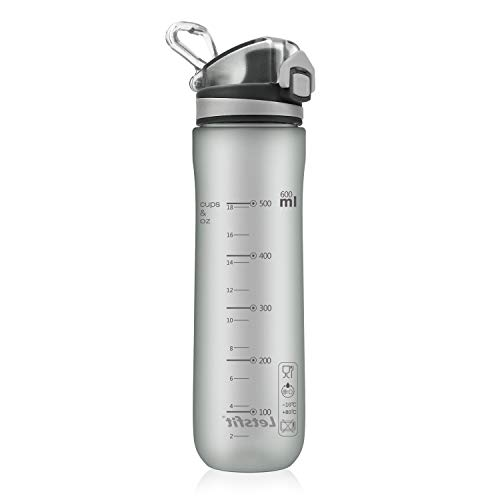 Letsfit Sports Water Bottle, BPA-Free Tritan Plastic Water Bottle with Locking Flip-Flop Lid, Leakpoof and Dustproof Cap, Carry Loop, 21oz Bottle for Outdoor Hiking Camping Travel (Frosted Gray) ()