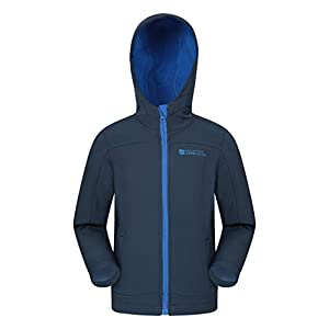 Mountain Warehouse Veste à Capuche Enfant Exodus Softshell – Manteau Respirant Imperméable, Doublure Polaire, Résistante…