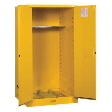 Justrite 896200 Sure-Grip Flammables Drum Cabinet, Manual-Close, 55 Gal, Yellow