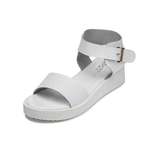 WalkingTime Lady or Girl Open Toe Waterproof Flat Sandals(5.5 B(M)US, Grey)