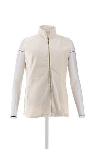 Susan Graver Weekend Knit Corduroy Zip Front Vest Cream M # A269778