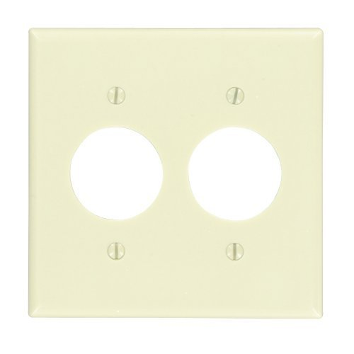 Leviton 86052 2-Gang Single 1.406-Inch Hole Device Receptacle Wallplate, Standard Size, Thermoset, Device Mount, Ivory