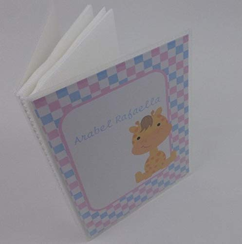 Baby Photo Album with NAME 4x6 or 5x7 Pictures Personalized Giraffe IA#246