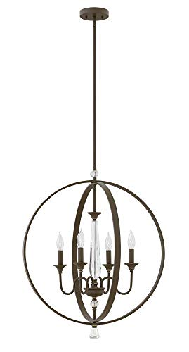 (Hinkley 4604OZ Transitional Four Light Chandelier from Waverly collection in Bronze/Darkfinish,)