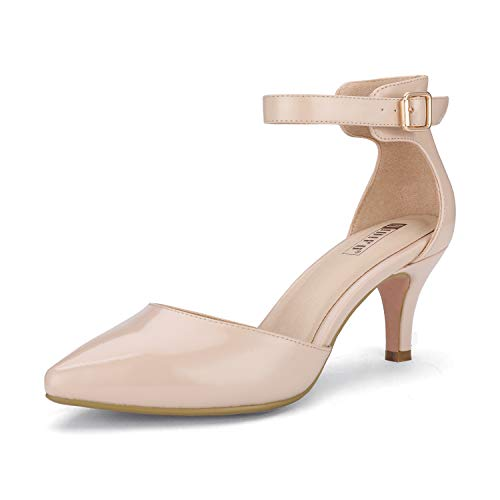 IDIFU Women's IN3 D'Orsay Pointed Toe Ankle Strap Mid Heel Pump (Nude Patent, 10 B(M) US)