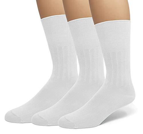 (Men's Diabetic Non-Binding Comfort Top Dress Socks 3-Pack (13-15 (Shoe Size 12-16), White))