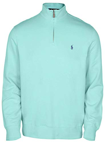 (Polo Ralph Lauren Men's Big & Tall Fleece 1/2 Zip Mock Sweater-Green-XL)