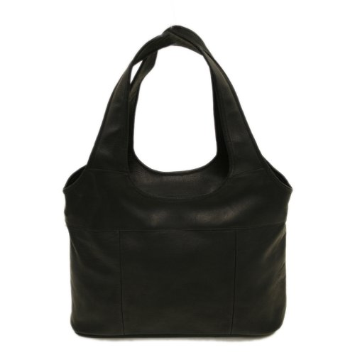Piel Leather Laptop Hobo, Black, One Size, Best Gadgets