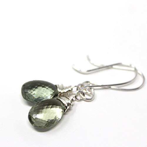 Green Amethyst Earrings Prasiolite Sterling Silver Elegant Drop Dangles ()
