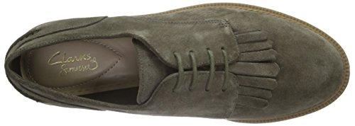De Mabel khaki Zapatos Mujer Verde Cordones Clarks Griffin Derby Suede Para 4UqwBt5B