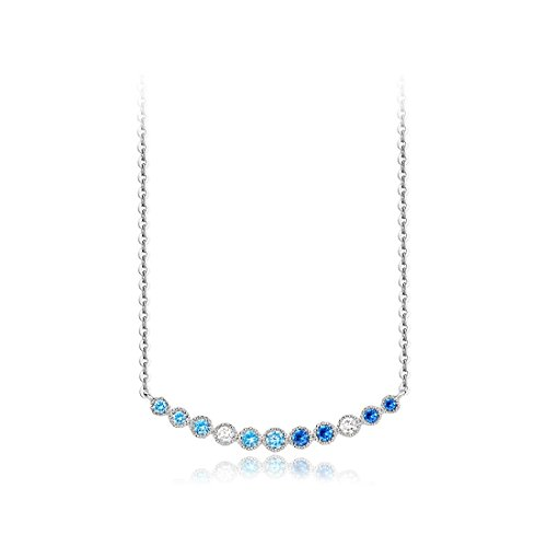 (Carleen 925 Sterling Silver Aqua Pendulum Blue Spinel Bar Pendant Necklace CZ Cubic Zirconia Necklaces For Women Girls, 16 inch)