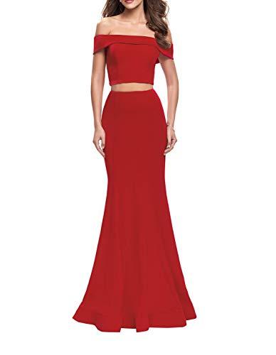Zwei Rot Satin Schmaler Formalkleider Braut teilig Partykleider Abendkleider Schnitt mia La Festlichkleider Ballkleider Figurbetont EpTqwgg