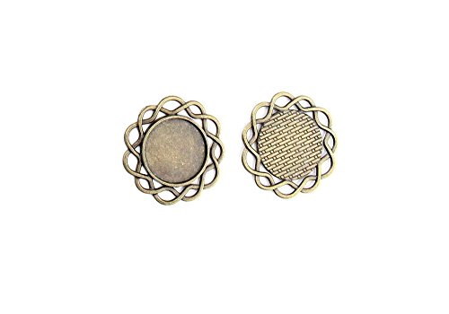 120 Pieces Jewelry Making Charms Pendant Ancient Bronze Color Retro Findings Supplies GFX0BF1 Round Setting Blanks Cabochon Frame