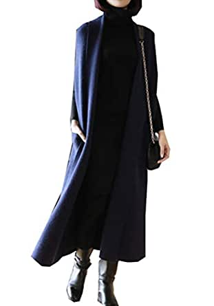 Minibee Womens Long Vests Sleeveless Draped Lightweight Open Front Cardigan with Side Pockets Navy