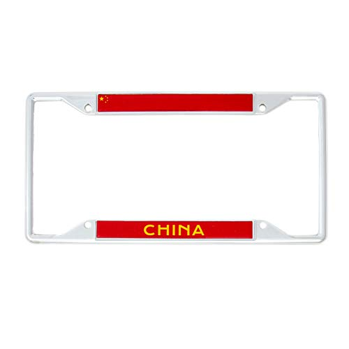 Desert Cactus Country of China Flag License Plate Frame for Front Back of Car Vehicle Truck Chinese ()