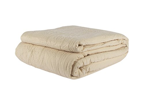 French Tile Quilted Bedspread in Buttermilk, Queen Size B...