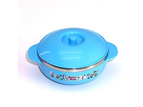 Yuchoi Contemporary Animal Pattern Baby Feeding Bowl Anti-Scald Stainless Steel Children Dish Insulation Bowl with Double Handles for Kids Students(Blue) by Yuchoi