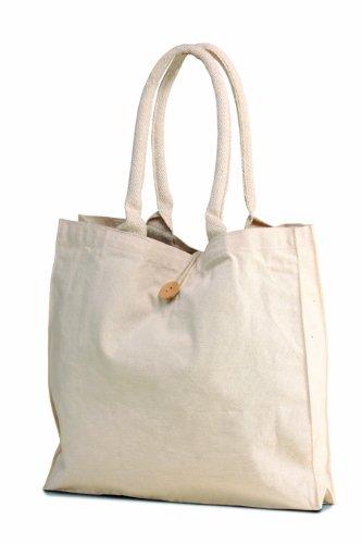 65518ec607 Natural 10 oz. Cotton Canvas Tote Bag buttoned closure cotton webbed ...