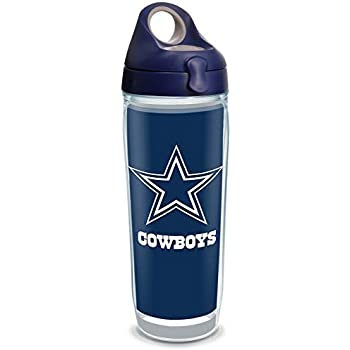 Tervis 1323177 NFL Dallas Cowboys - Touchdown Insulated Tumbler with Wrap and Navy with Gray Lid, 24 oz Water Bottle - Tritan, Clear
