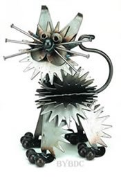 Yardbirds Fluffy Junkyard Kitten Metal Sculpture