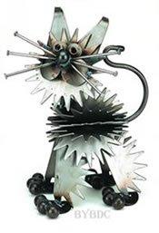 Fluffy Junkyard Kitten Metal Sculpture