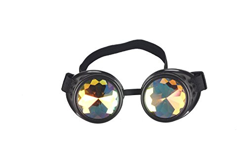 Lelinta Steampunk Rave Glasses Goggles with Rainbow Crystal Glass Lens,Black,Adjustable
