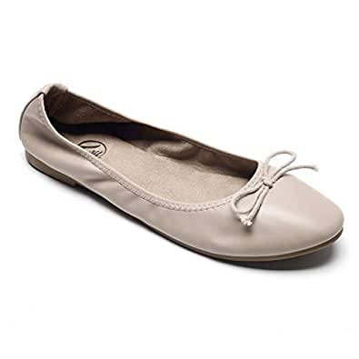 Trary Women's Casual Slip on Bow Ballet Flats Beige Size: 5