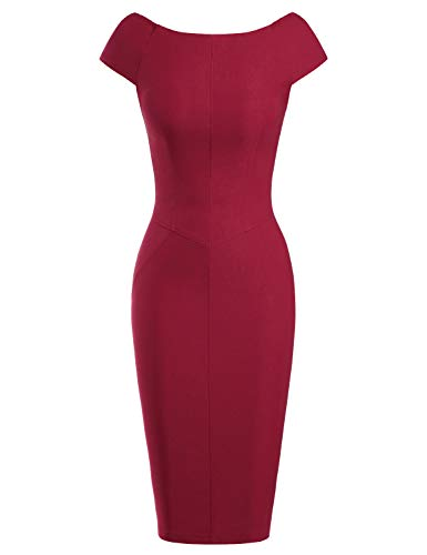 MUXXN Lady Solid Color Short Sleeves Sheath Special Occasion Plus Bodycon Dress (Burgundy XXL)