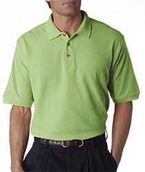 UltraClub Men's Luxury Double Pique Polo, Small, GreenStone