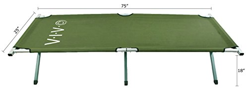 VIVO Cot, Green Fold up Bed, Folding, Portable for Camping, Military Style w/Bag (COT-V01)