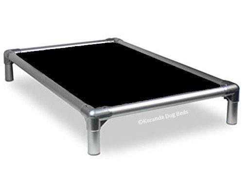 Kuranda All-Aluminum (Silver) Chewproof Dog Bed - XL (44x27) - 40 oz. Vinyl - Black