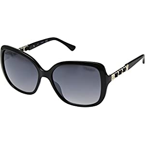 GUESS Womens GF6060 Shiny Black With Gold/Smoke Gradient With Light Flash Lens One Size