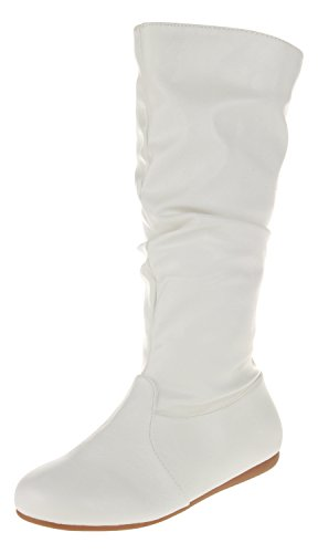 Enimay Women's Winter Fashion High Mid Calf Slouchy Flat Casual Dress Boot Leather White 10 ()