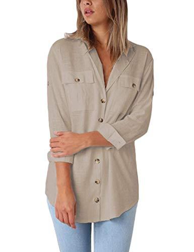 Manches Col Kaki Blouse Classique Bouton Shirt Top Bequemer T Femme Uni Femme Chic Chemisier Lin Laden Chemisier Longues V qHUt1xUwX
