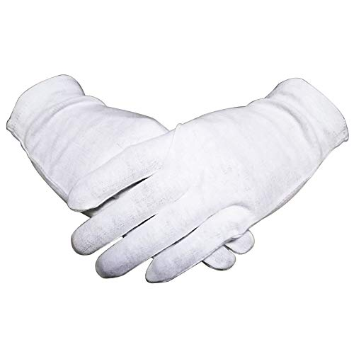 White Thin 100% Organic Cotton Gloves for Women Dry Hands Eczema 12 Pairs Night-Sleeping Lotion Spa Gloves for Moisturizing,Medium Light (Cara Cotton Gloves)