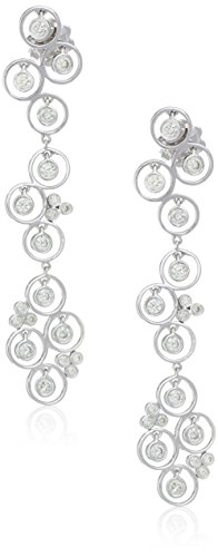 14k White Gold Floating Circle Diamond Drops Dangle Earrings (1cttw, I-J Color, SI2-I1 ()