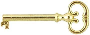 Skeleton Key Badge B-1983 UNIQANTIQ HARDWARE SUPPLY Free Bonus Brass Plated Skeleton Key Barrel Antique Cabinet /& Grandfather Clock Door Key Vintage Old Furniture