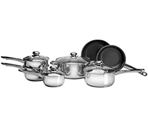 11 Piece Stainless Steel Cookware Set with Eclipse Nonstick Frying Pans