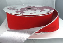 Wired Red Velvet Christmas Ribbon with Silver Edging and Silver Backing 2 1/2