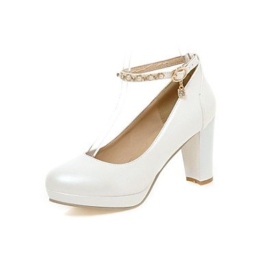 Zormey Chaussures Femmes Talon Talons/Plateforme/Round Toe Heels Office &Amp Carri¨¨re/Noir/Bleu/Rose/Blanc Blanc Us5.5 / Eu36 / Uk3.5 / Cn35