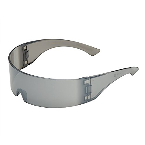 grinderPUNCH Silver Mirror Futuristic Shield Sunglasses Deal - Glasses Brown Doc