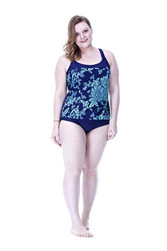 SHISHANG Sra. Del bikini traje de baño de cuerpo Europa y el gran tamaño del cuerpo del traje de baño de Estados Unidos grasa MM se reúnen alta elasticidad de protección del medio ambiente feet + blue sky blue