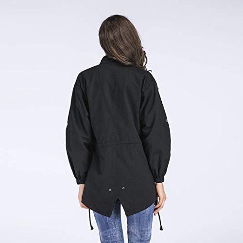 Irregular Tasche Outerwear Moda Di Invernali Vento Outwear Schwarz Giacca Lunga Cerniera Laterali Con Abbigliamento Ricamo Coulisse Manica Donna Cappotti Bavero PfqxvTZ