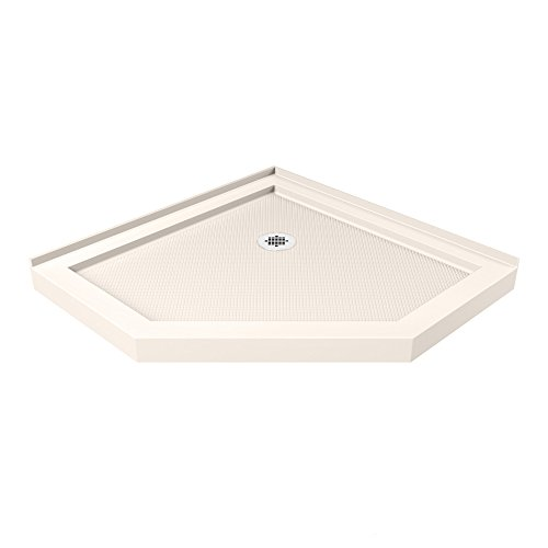 Corner Shower Trays - DreamLine SlimLine 38 in. D x 38 in. W x 2 3/4 in. H Corner Drain Neo-Angle Shower Base in Biscuit