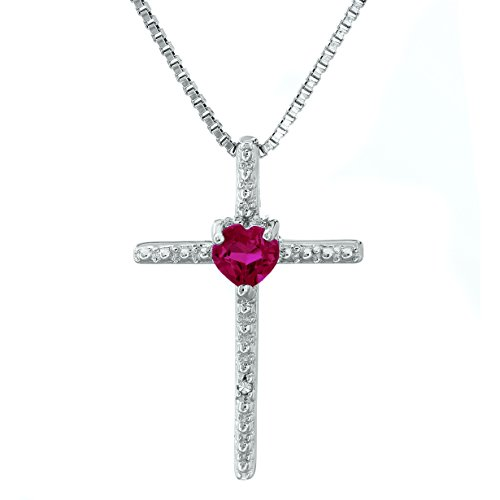 Lavari - .30 Ct Heart Red Ruby and Diamond Sterling Silver Cross Pendant 18