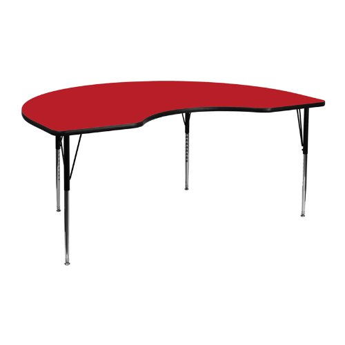 Flash Furniture 48''W x 72''L Kidney Red HP Laminate Activity Table - Standard Height Adjustable Legs