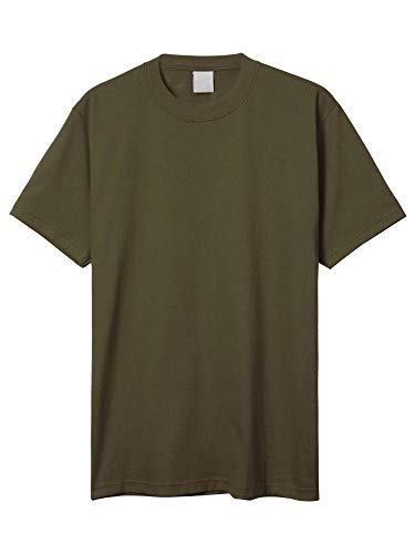 Basketball T-shirt Hat - Hat and Beyond Mens Super Max T Shirt Heavyweight Solid Short Sleeve Tee S-5XL (1ks06_Olive/2X-Large)